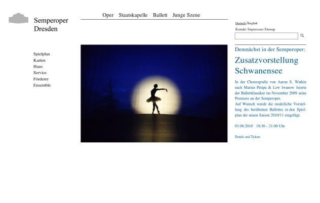Screenshot von semperoper.de am 27.08.10