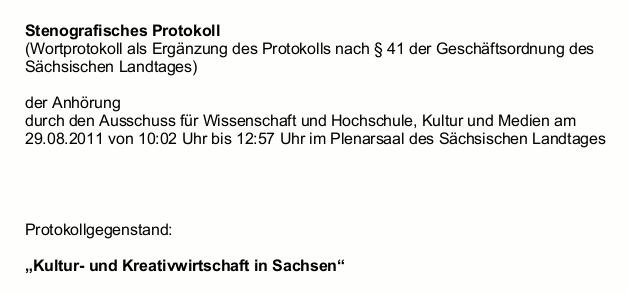 Wortprokoll Kreativwirtschaft Sachsen Anhörung