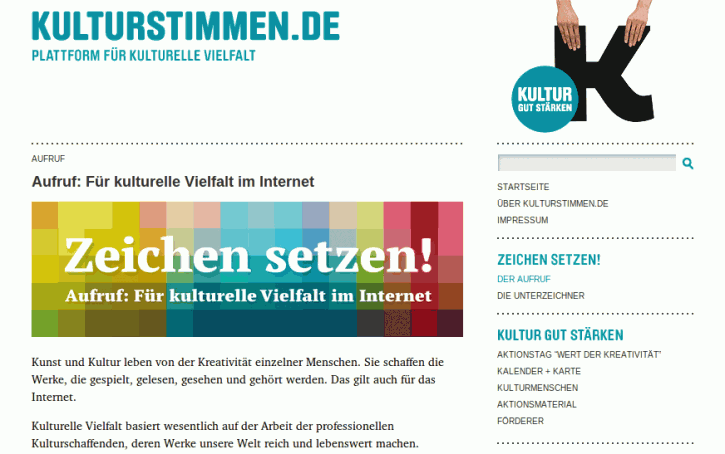 Screenshot Kutlurstimmen.de Aufruf