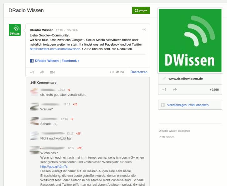 DRadio Wissen auf Google+