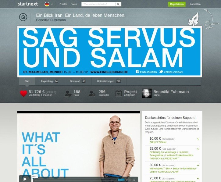 Screenshot startnext.de servus und salam