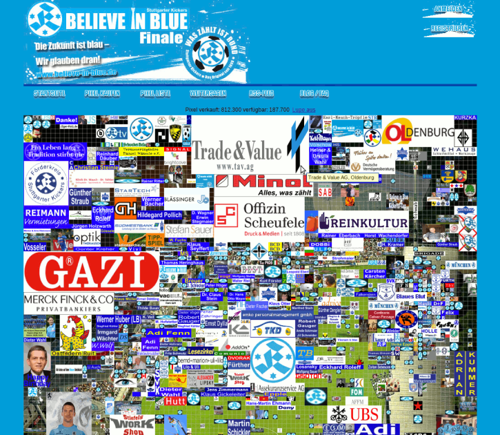 Screenshot believe-in-blue.de - ein Crowdfunding Projekt?