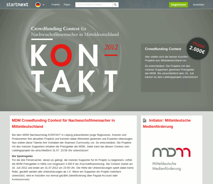 Crowdfunding Contest auf Startnext (Screenshot)