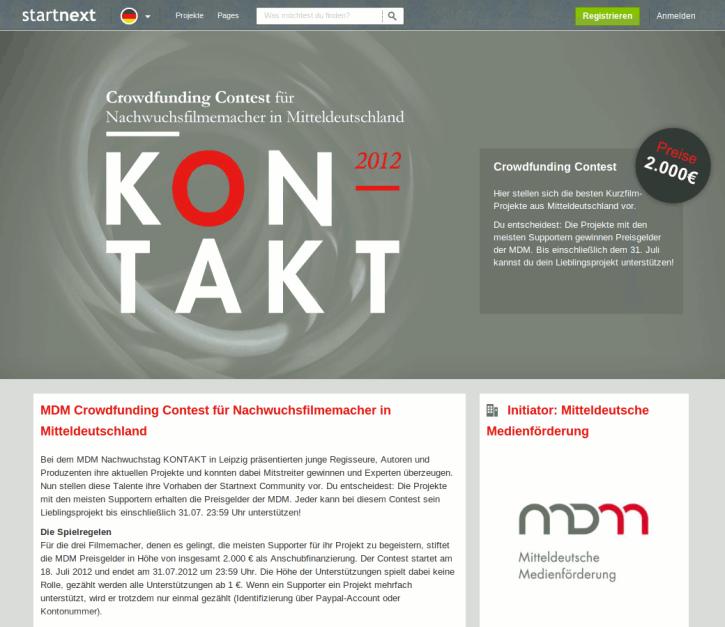 Crowdfunding Contest auf Startnext (Screenshot)
