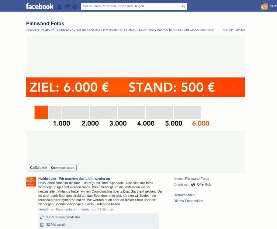 Screenshot der Facebook Seite Wir machen das Licht wieder an