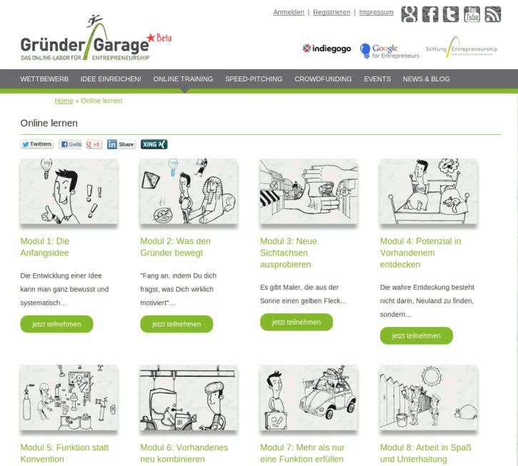 Screenshot http://www.entrepreneurship.de/gruender-garage/online-lernen/