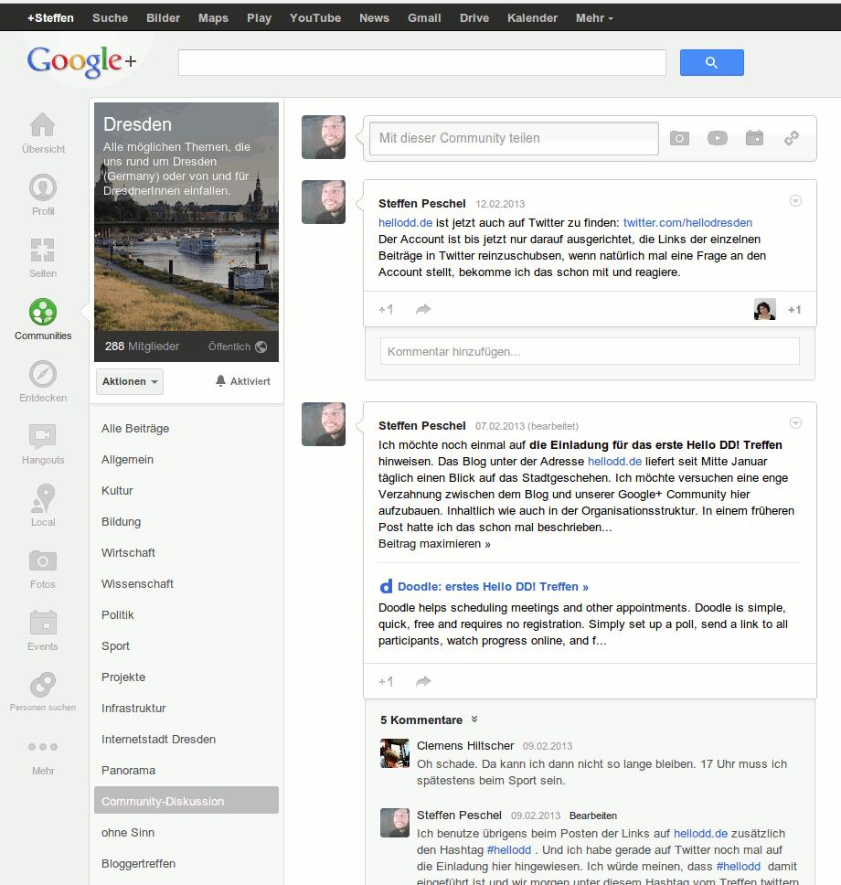 Screenshot Google Plus Community