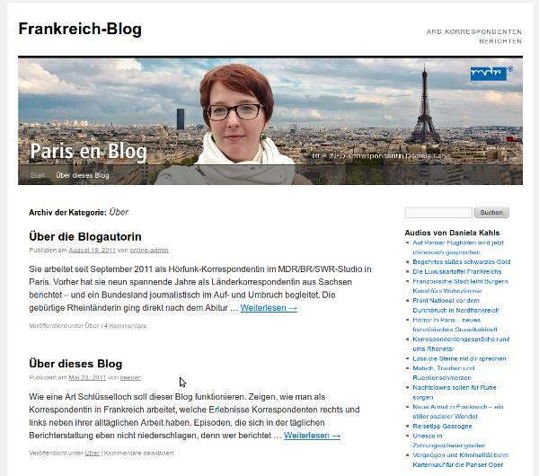 Screenshot Frankreich-Blog des MDR