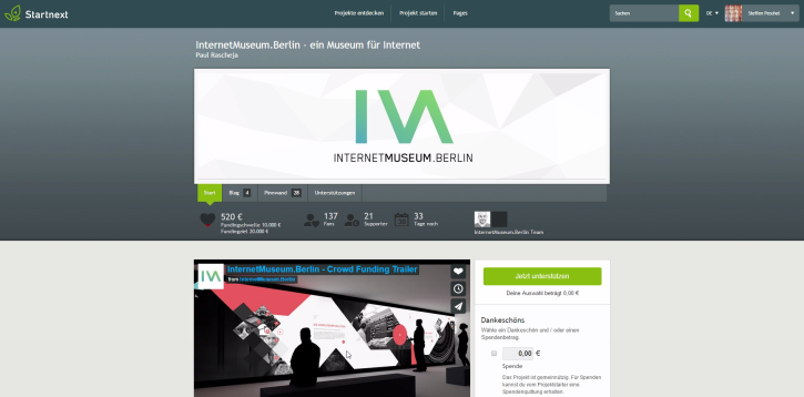 Screenshot: startnext.com/internetmuseumberlin