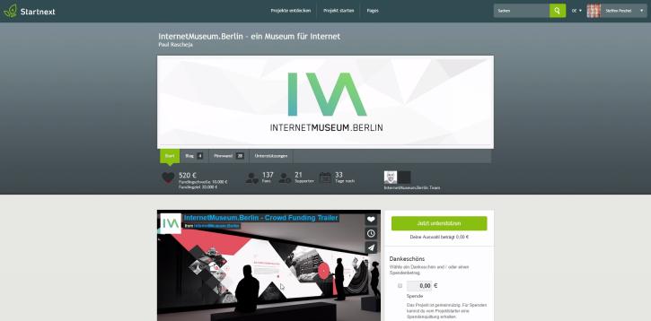 Screenshot: startnext.com/internetmuseumberlin